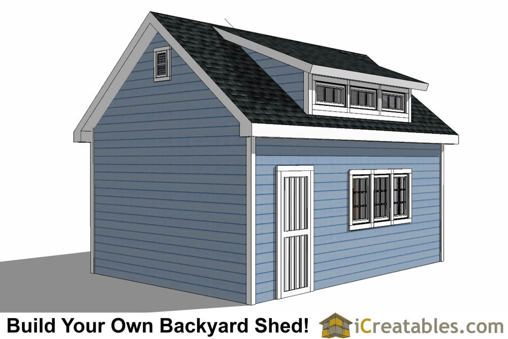 14x16 shed plans with dormer for 16x20 garage plans