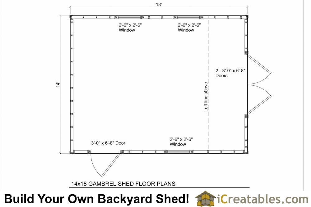Storage Shed Floor Plans: 14x18 Gambrel Shed Plans