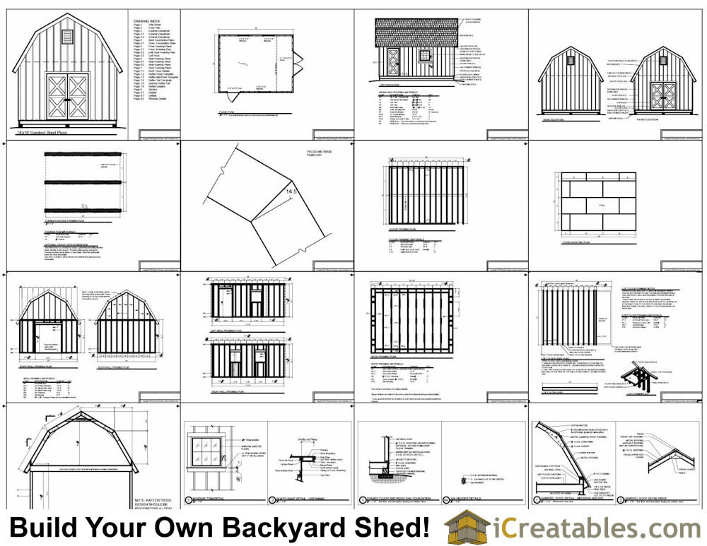 14x18 gambrel shed plans 14x16 barn shed plans for Gambrel barn house plans
