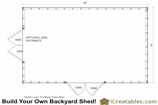 14x20 traditional shed floor plan