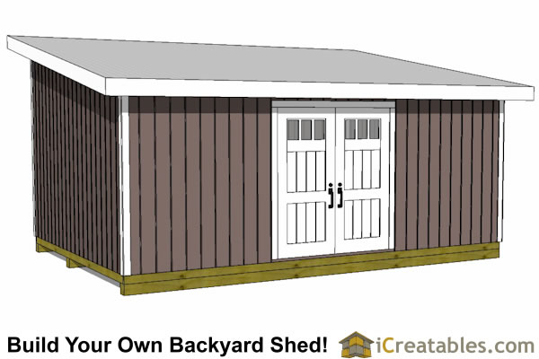 14x20 lean to shed plans front view