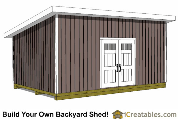 14x20 lean to shed tall wall door view