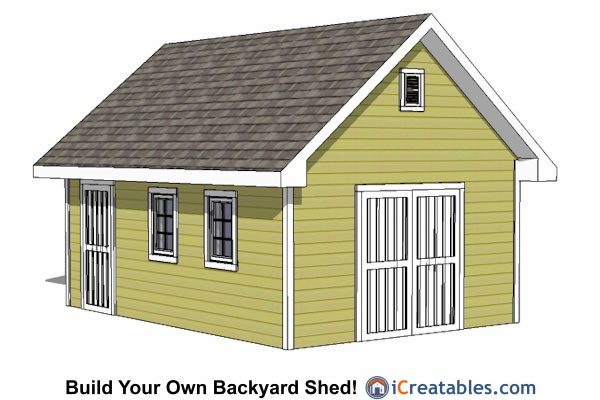 14x20 traditional regular shed plans front elevation