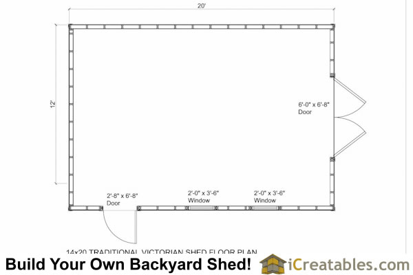 14x20 Traditional Victorian Style Storage Shed Floor Plan