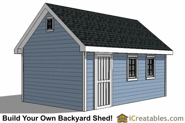 14x20 Traditional Victorian Style backyard storage shed right