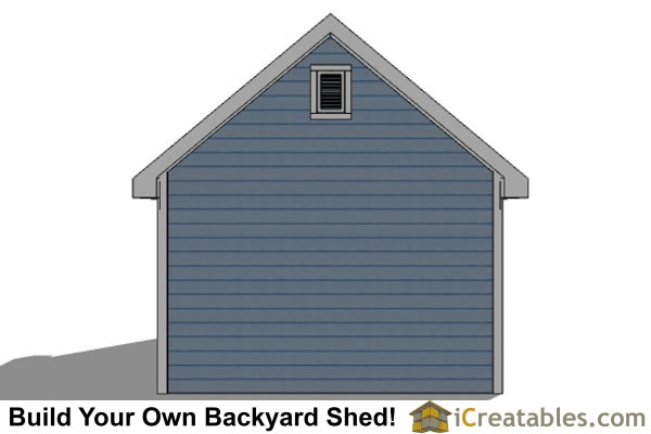 14x20 Traditional Victorian Style Storage Shed Plans rear elevation