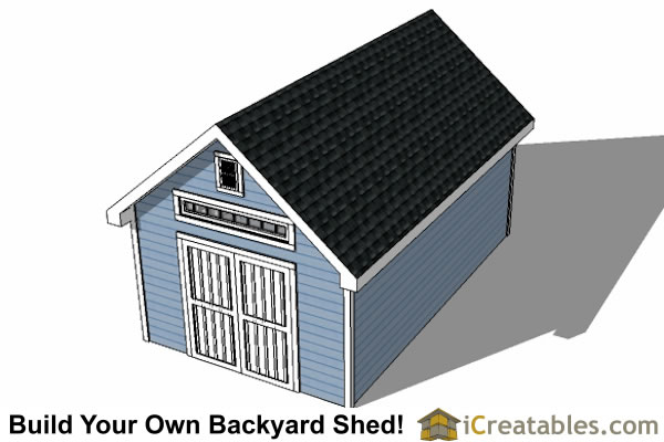 14x20 Traditional Victorian Style Storage Shed Plans top view