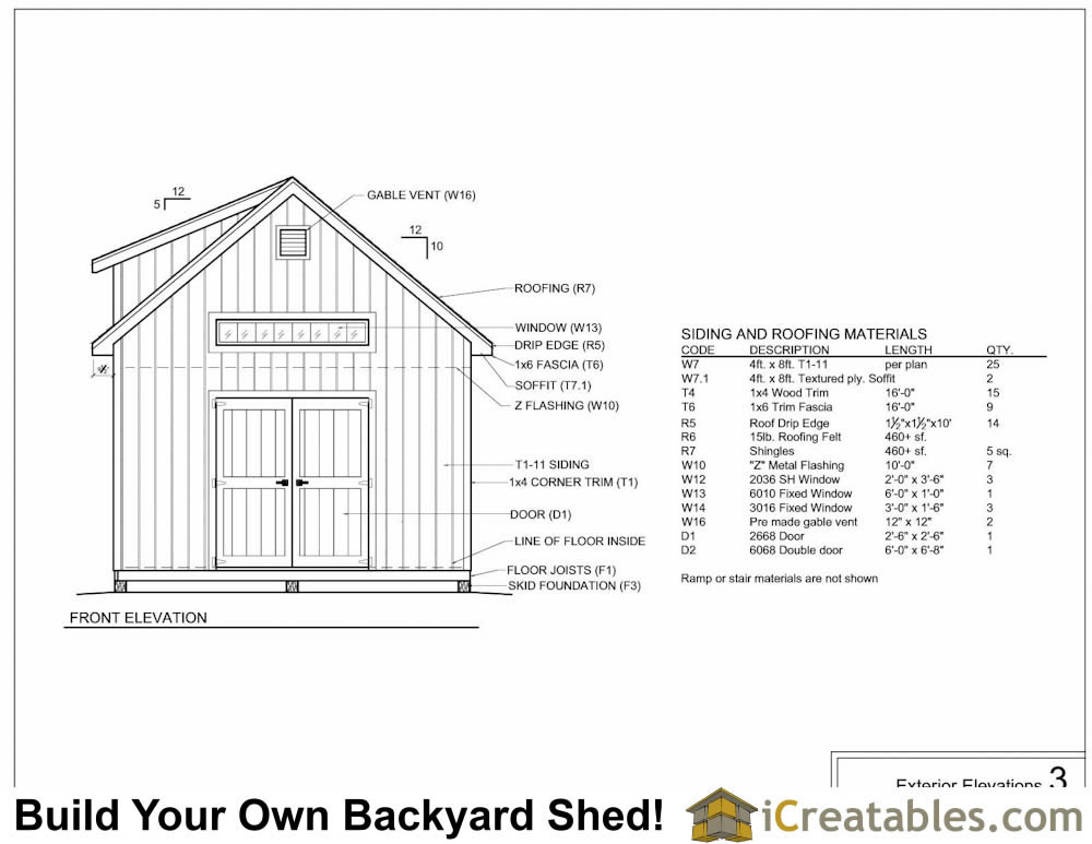 14x20 shed with dormer exterior elevations plans