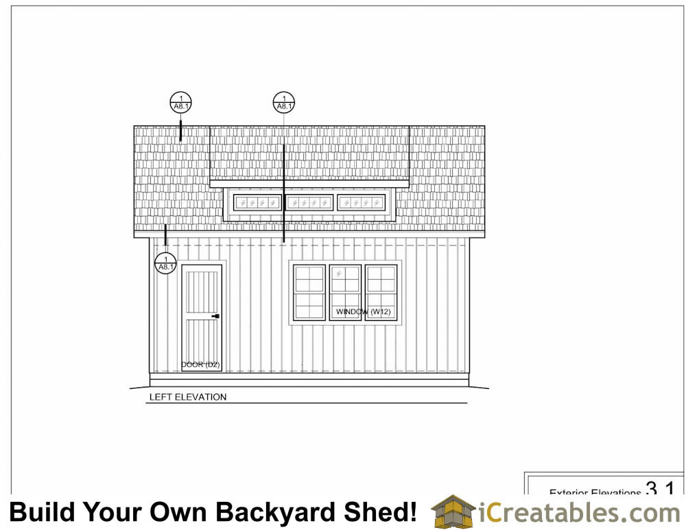 14x20 shed with dormer elevations