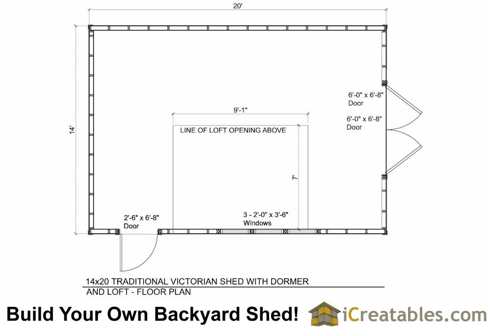 14x20 shed with dormer roof floor plans