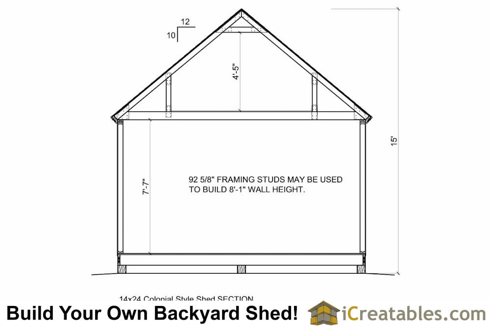 14x24 shed plans section