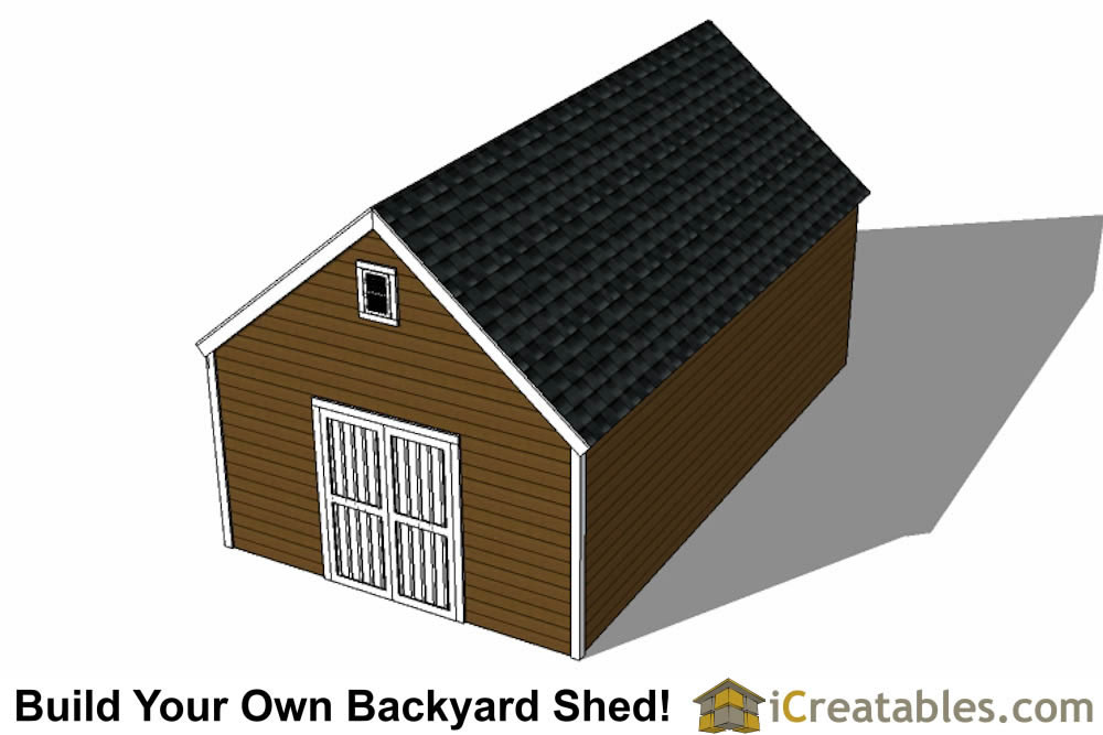 14x24 colonial style shed plans rear view