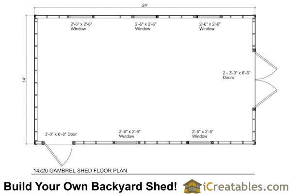 14x20 gambrel shed plans 14x20 barn shed plans for Gambrel barn house floor plans