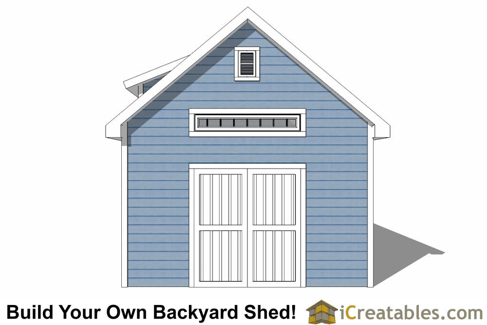 14x24 shed with dormer roof plans elevation