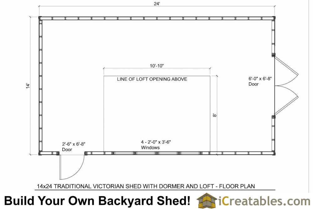14x24 shed with dormer roof floor plans