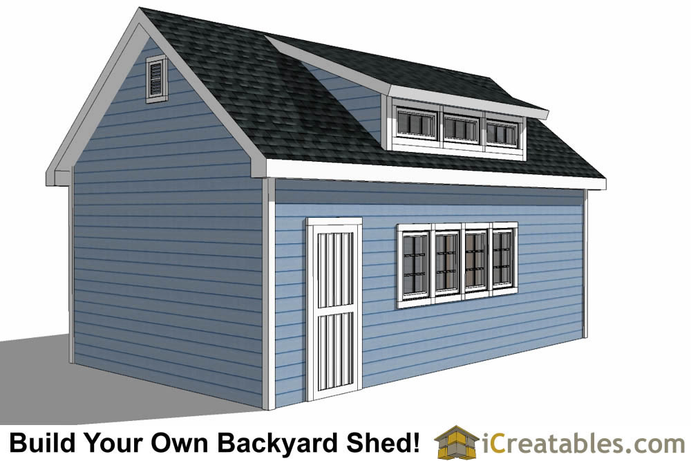 14x24 shed with dormer roof plans right