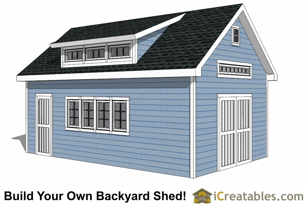 14x24 shed with dormer roof plans