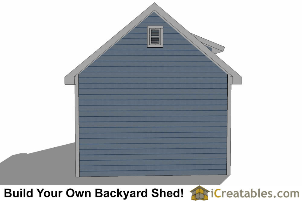14x24 shed with dormer roof plans rear elevation