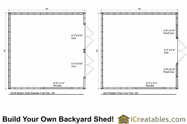 16x16 modern shed plans floor plan