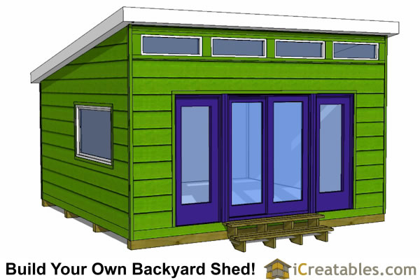 16x16 modern shed plans front view