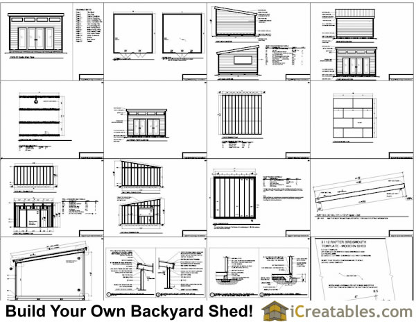 16x16 Modern Studio Shed Plans Specifications Overview