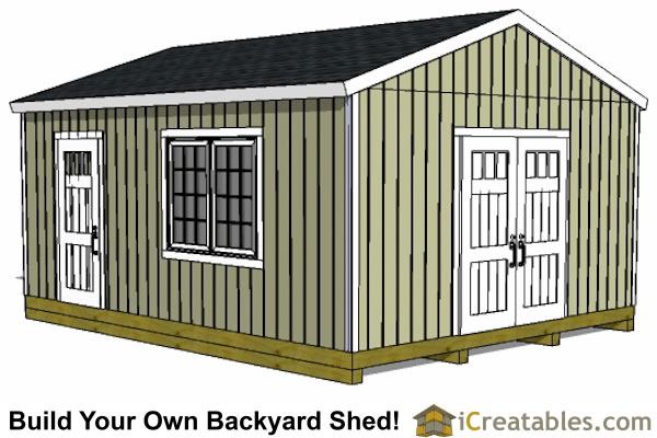 16x20 gable shed plans front elevation