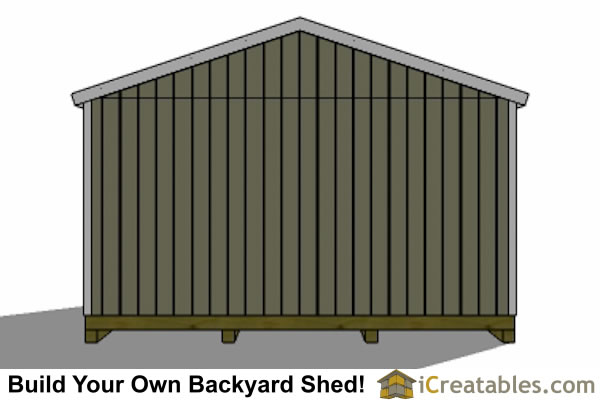 16x20 gable shed rear view