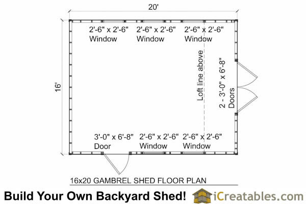 16x20 gambrel shed plans 16x20 barn shed plans for Gambrel floor plans