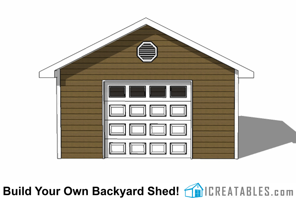 16x24 shed with garage door front elevation