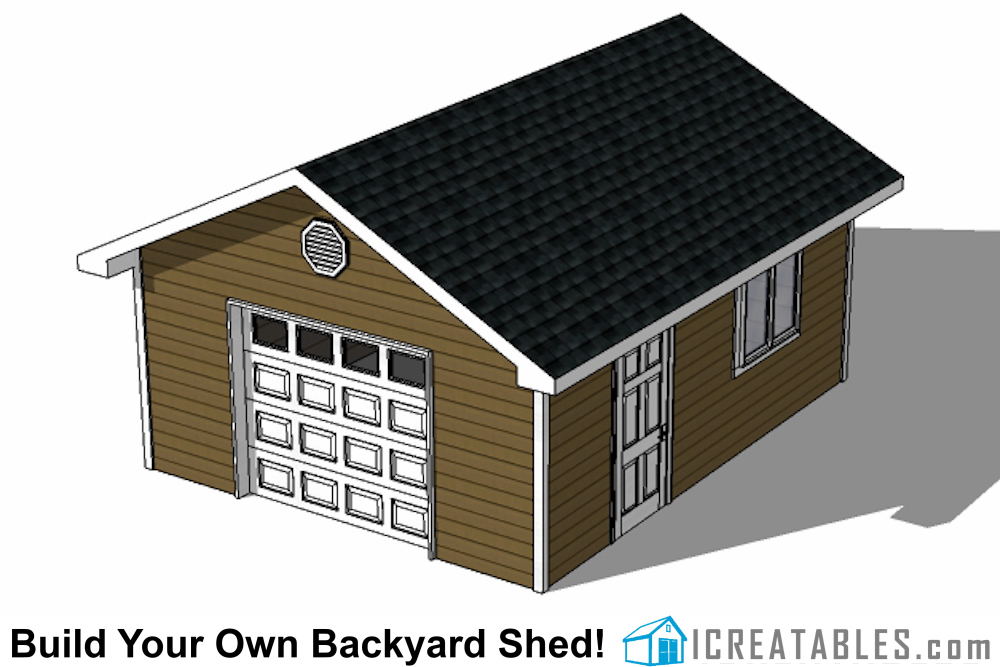 16x24 shed with garage door front view