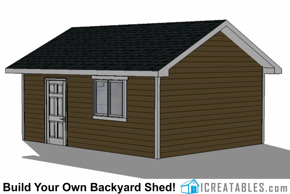 16x24 shed with garage door right rear elevation