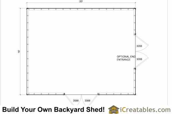 16x20 lean to shed floor plan