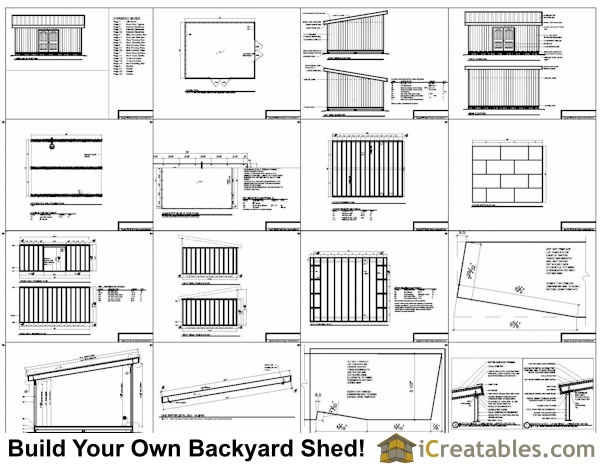 16x20 lean to shed plans example