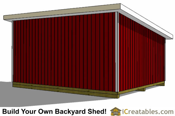 16x20 lean to shed left rear view
