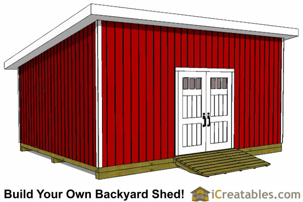 16x20 lean to shed tall wall door view