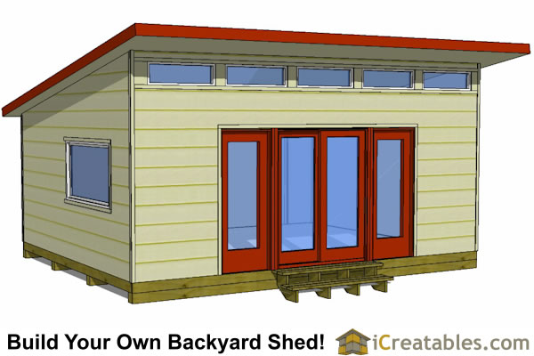 16x20 modern shed plans front elevation