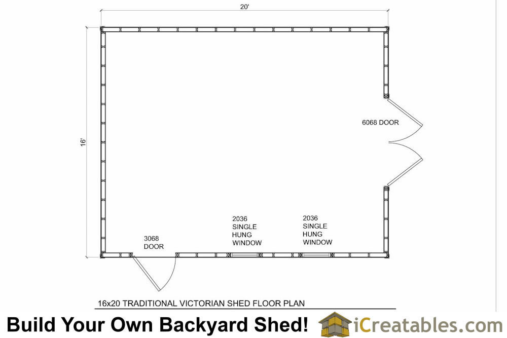 16x20 storage shed floor plans