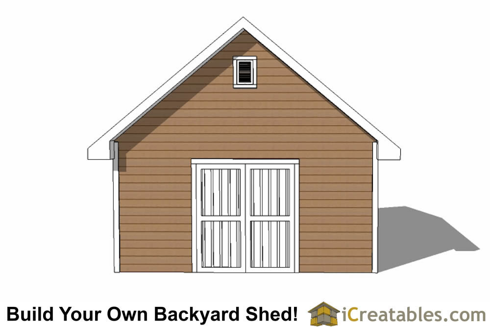 16x20 backyard shed plans end elevation