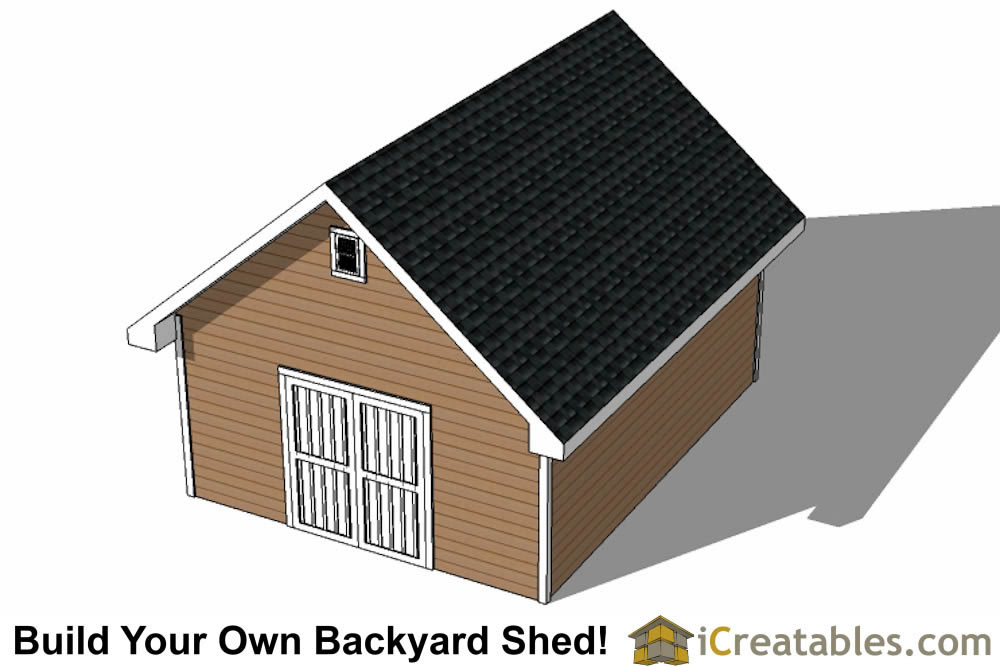 16x20 backyard shed plans rear view
