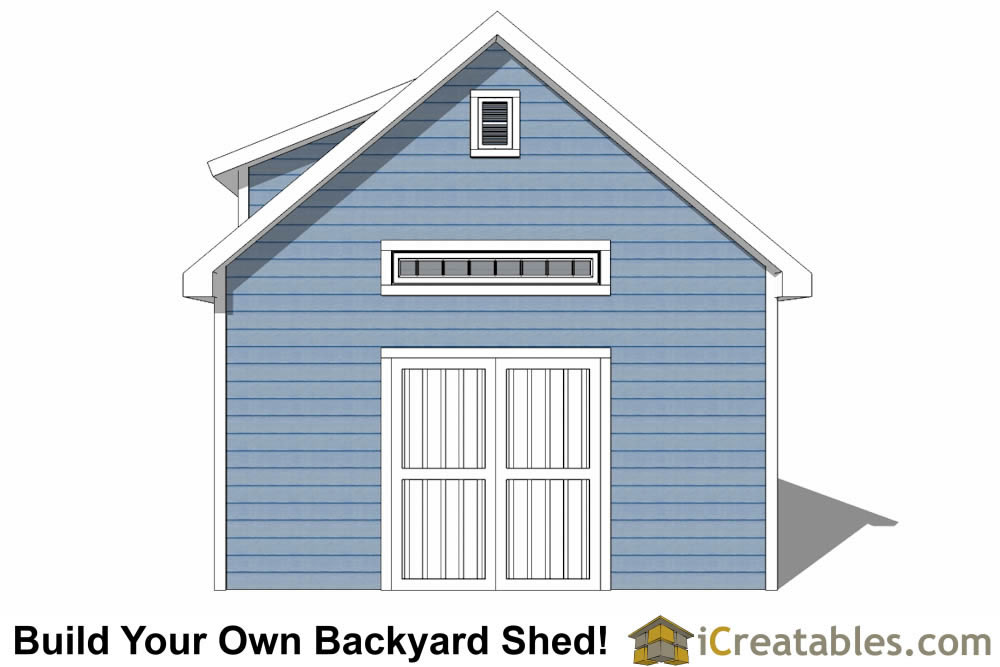 16x20 shed with dormer roof plans elevation