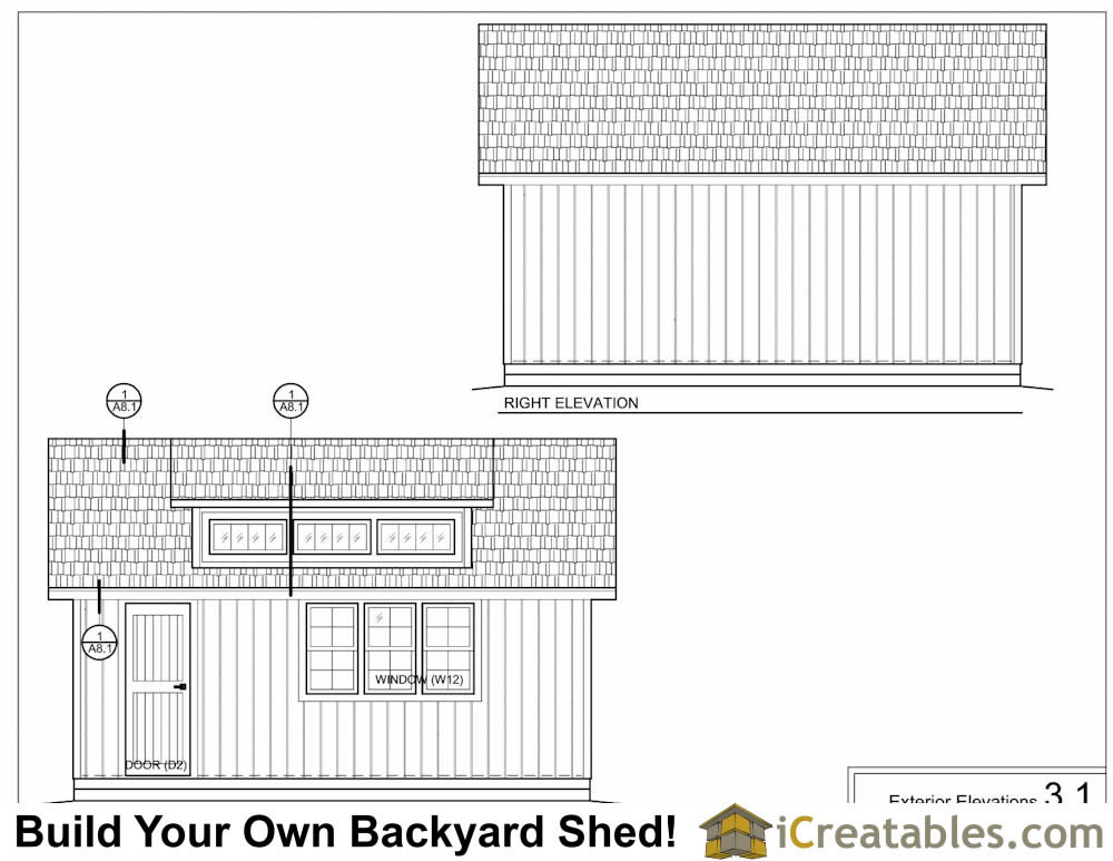 16x20 shed with dormer elevations