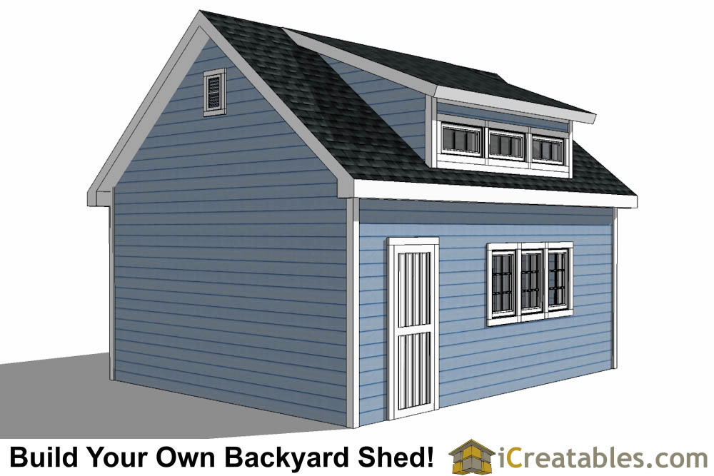 16x20 shed plans with dormer for Shed with dormer