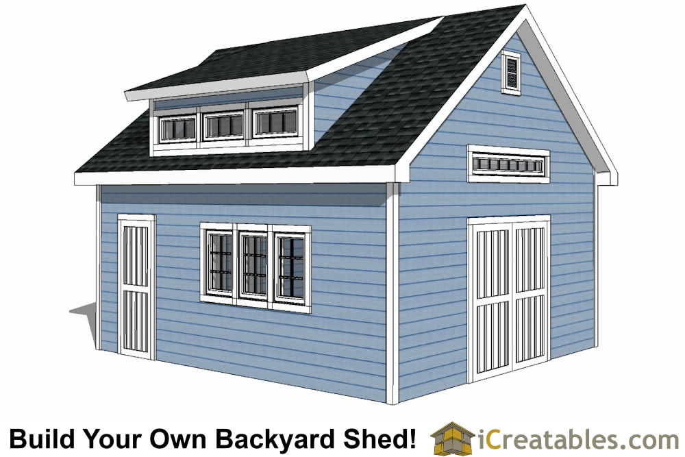 16x20 shed plans with dormer and storage loft