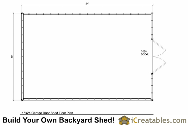 16x24 Backyard Shed Floor Plan