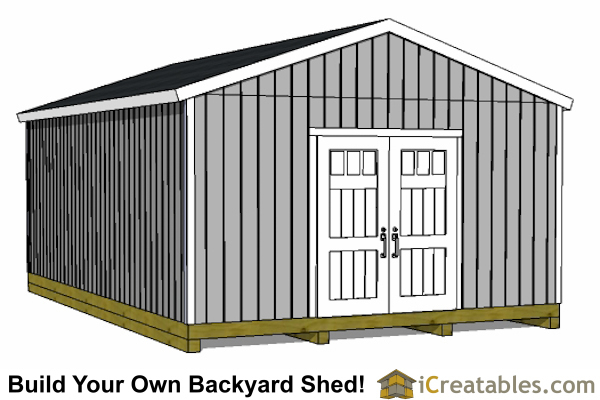 16x24 Gable Shed Plans with a porch