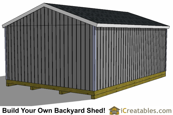 16x24 left rear elevation shed plans