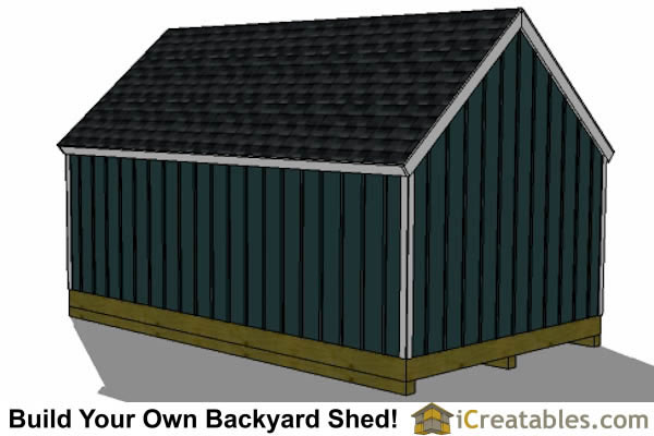 16x24 colonial style shed plans rear view