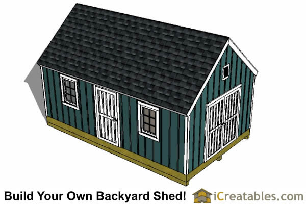 16x24 colonial style shed plans  top view