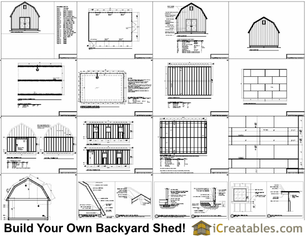 16x20 gambrel shed plans 16x20 barn shed plans for Gambrel barn house plans