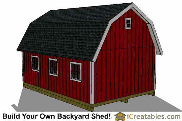 16x24 gambrel shed right rear. 16x24 Gambrel Shed Plans   12x16 barn shed plans